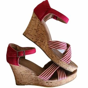 toms red and white striped cork wedge sandals